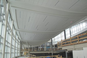 Prefabricated ceiling in the Edmonton International Airport
